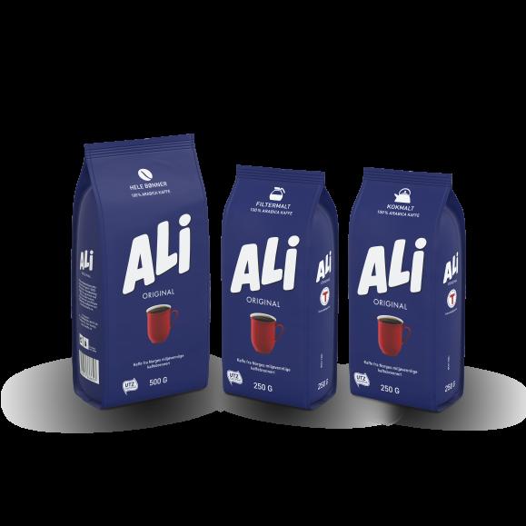 ALI Kaffe Original kaffeposer hele bønner, filtermalt og kokmalt