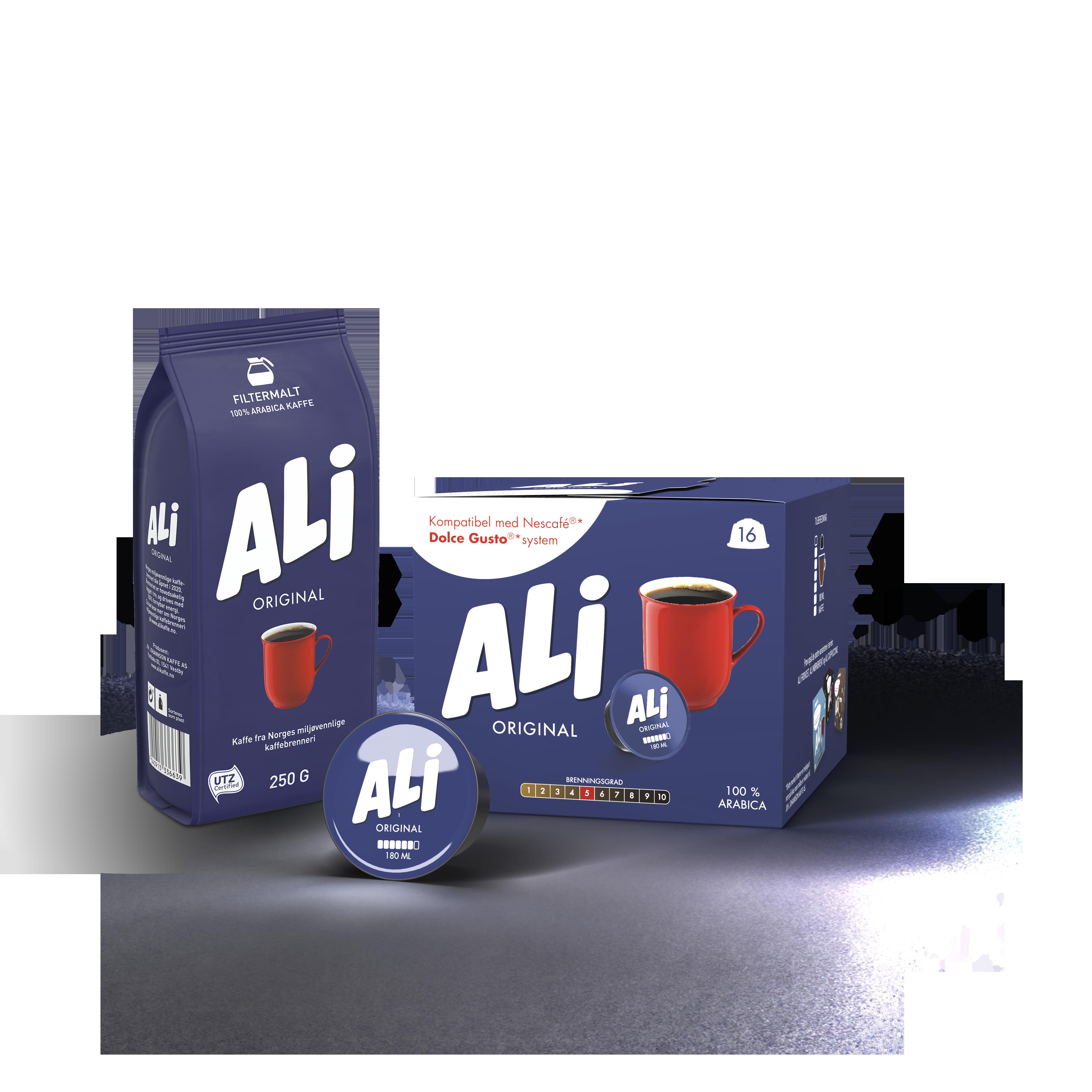 ALI Kaffe kaffepose og boks med kaffekapsler