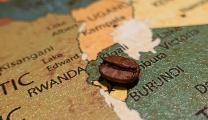 Kaffebønne på kart Burundi