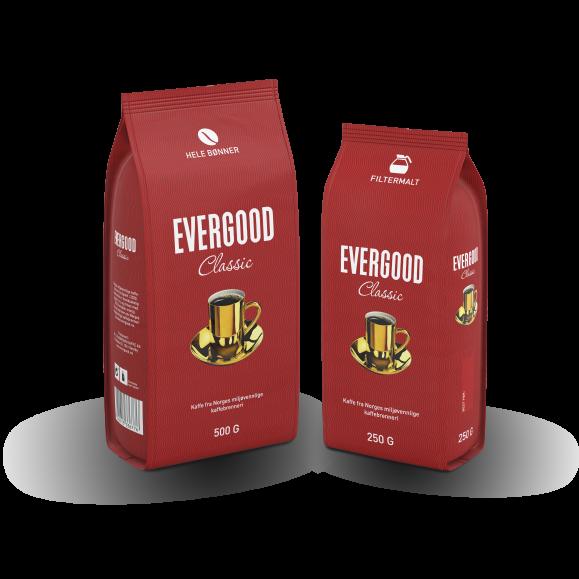To poser Evergood Classic, hele bønner og filtermalt