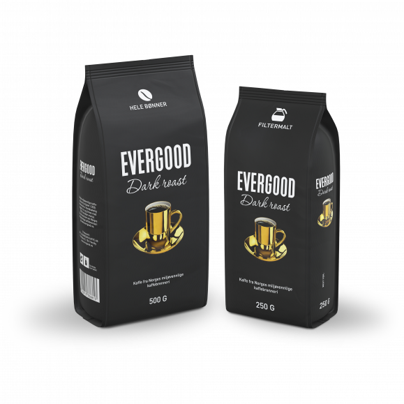 To poser Evergood Dark Roast, hele bønner og filtermalt