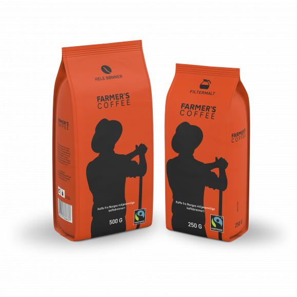 To poser med Farmer's Coffee, filtermalt og hele bønner