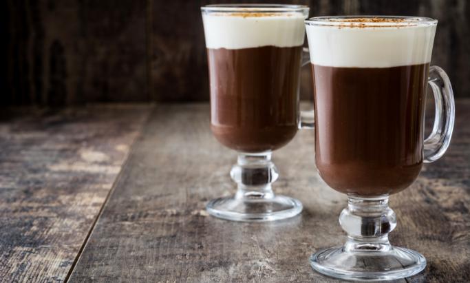 To glass Irish Coffee