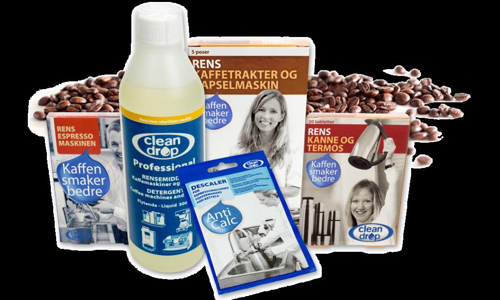 Ulike typer rens for å rengjøre kaffetrakteren