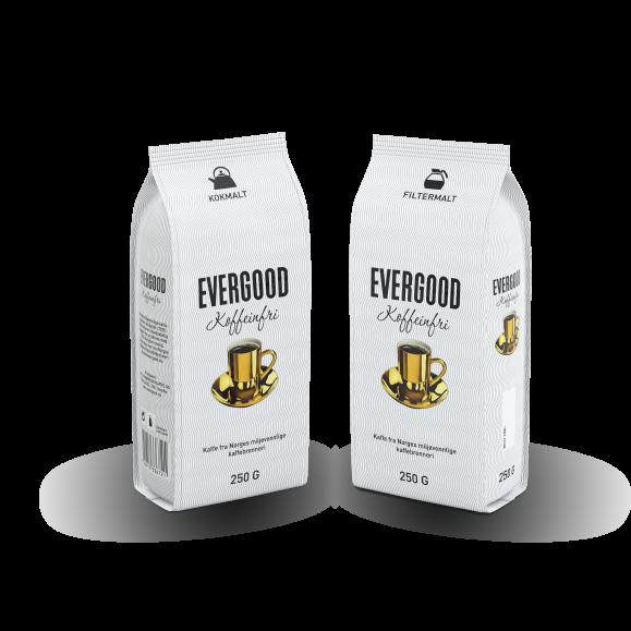 To poser Evergood Koffeinfri, kokmalt og filtermalt