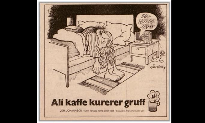 Morsom gammel ALI Kaffe reklame
