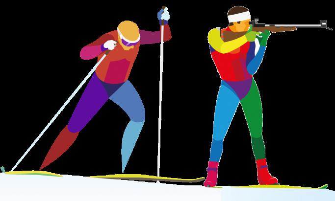 Grafikk av skiskytere