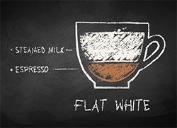 Flat white tegning med beskrivelse